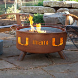 Patina Products - F225 University of Miami, Miami Hurricanes Fire Pit, Natural Patina Rust Finish