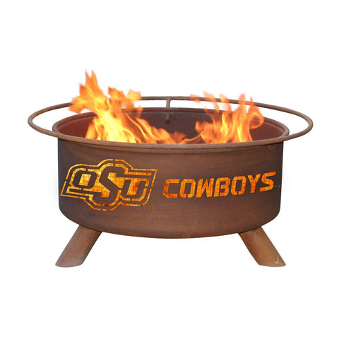 Patina Products - F227 Oklahoma State University, Oklahoma State Cowboys Fire Pit, Natural Patina Rust Finish