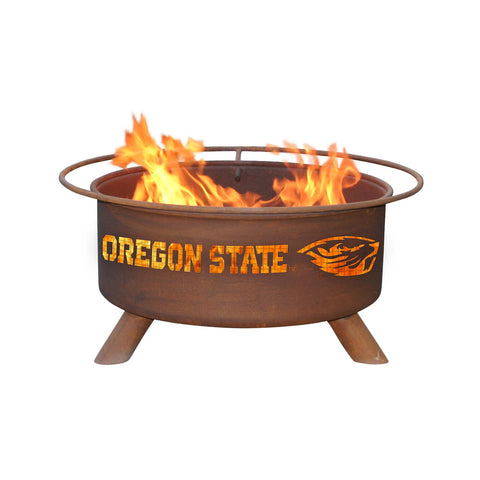 Patina Products - F231 Oregon State University, Oregon State Beavers Fire Pit, Natural Patina Rust Finish
