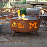 Patina Products - F242 University of Mississippi Rebels Fire Pit, Ole Miss Fire Pit, Natural Patina Rust Finish