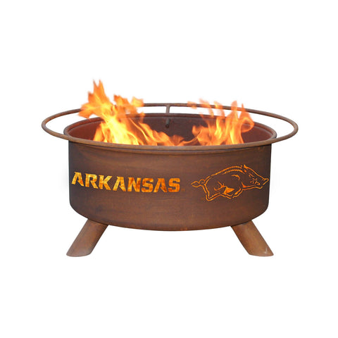 Patina Products - F244 Arkansas Razorbacks Fire Pit, Natural Patina Rust Finish
