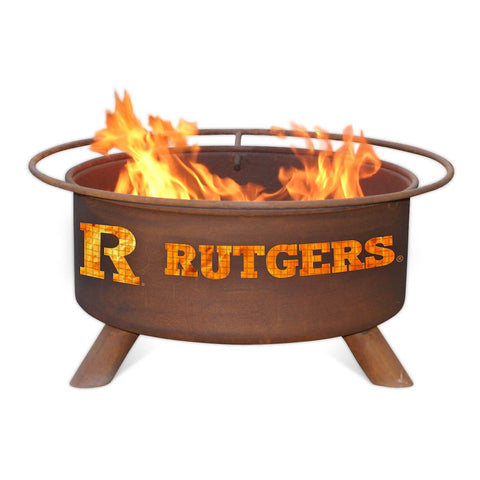 Patina Products - F248 Rutgers University Fire Pit, Rutgers Scarlet Knights, Natural Patina Rust Finish