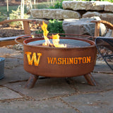 Patina Products - F249 University of Washington Fire Pit, Washington Huskies, Natural Patina Rust Finish