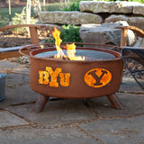 Patina Products - F400 BYU Fire Pit, Brigham Young University Cougars, Natural Patina Rust Finish