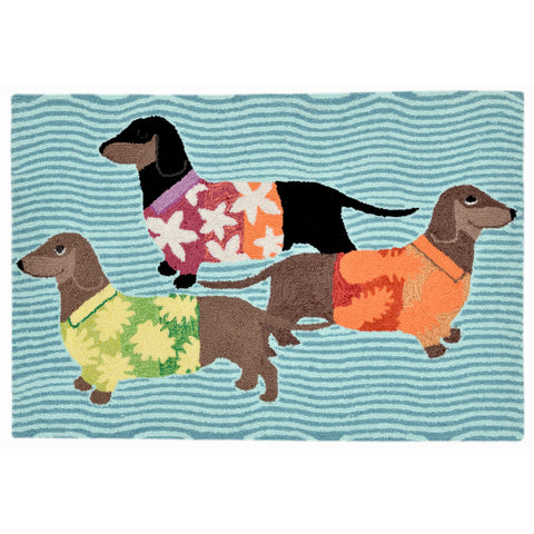 "Liora Manne - FTP12158344 - Frontporch Tropical Hounds Indoor/Outdoor Rug Blue 20""X30"" - Liora Manne"