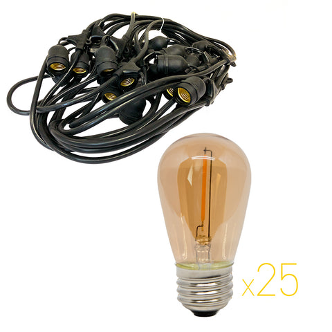 Prime Patio - KIT-24L-24AMB - 48 ft Patio Light Kit with 24 Warm White, Amber Tinted Bulbs