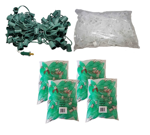 Seasonal Source - Roofline 100 ft Kit with Green Bulbs