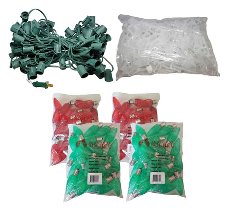 Seasonal Source - Roofline 100 ft Kit with Red and Green Bulbs