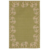 "Liora Manne -TER23277256 - Terrace Marching Elephants Indoor/Outdoor Rug Green 23""X35"" - Liora Manne"