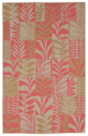 "Liora Manne - TER23277374 - Terrace Box Leaves Indoor/Outdoor Rug Rust 23""X35"" - Liora Manne"