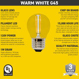 Seasonal Source - PP-LED-G45-WW - LED G45 Warm White 120V Bulb
