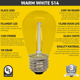Seasonal Source - PP-LED-S14-WW - LED S14 Warm White 120V Bulb