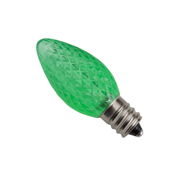 Led Yard Bulb: C7 LED Twinkle Replacement Lamp, Green, Box Of 25