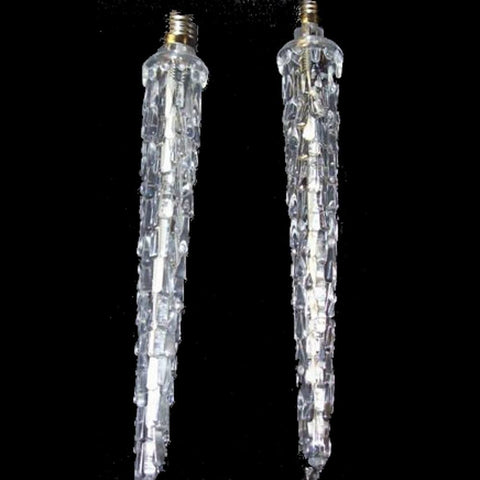 C9 Melting Icicle Bulbs, 7 Inch, Cool White, - Seasonal Source