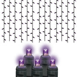 Reinders - LEDICE-P-B - Halloween Lights 5MM Icicle Lights, Purple Frost, Black Wire, 105 Bulbs - Reinders