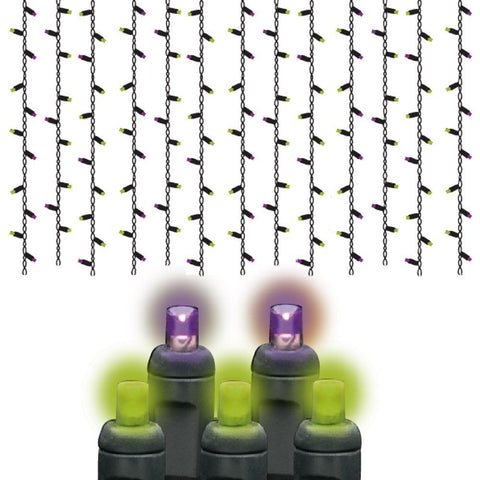 Reinders - LEDICE-PL-F - Halloween Lights 5MM LED, Purple and Lime Frost Icicle Lights, Black Wire, 105 Bulbs - Reinders