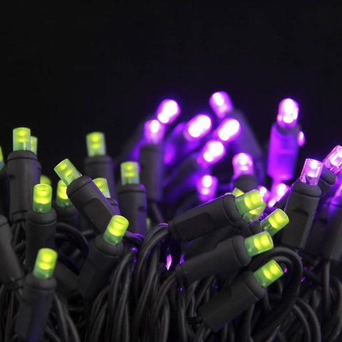Seasonal Source - Halloween Lights 5MM LED, Purple and Lime Frost, Black Wire, 6 Inch Spacing, 50 Bulbs -  - Holiday Lighting  - Yard Outlet