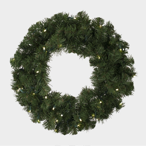 "Seasonal Source - LEDWREATH-24-H - High Quality Oregon Fir LED Pre-Lit Wreath, Warm White, 24"", 35 Bulbs - Seasonal Source"