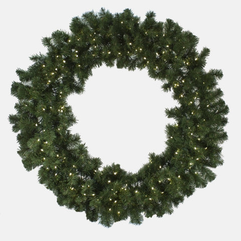 "Seasonal Source - LEDWREATH-48-H - High Quality Oregon Fir LED Pre-Lit Wreath, Warm White, 48"", 200 LED Bulbs - Seasonal Source"
