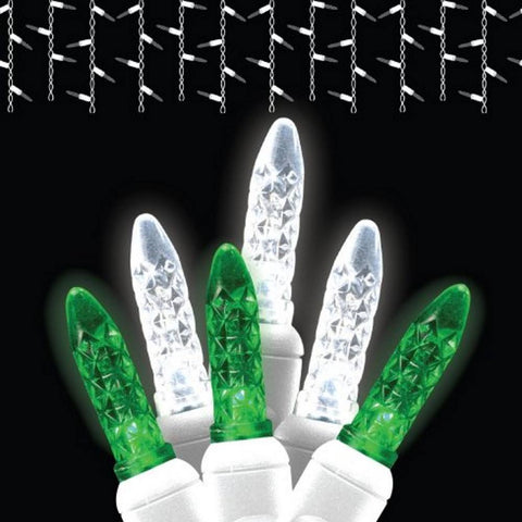Reinders - LEDICE-PWG - Icicle Lights LED Twinkle, Green and Pure White, White Wire, 70 Bulbs - Reinders