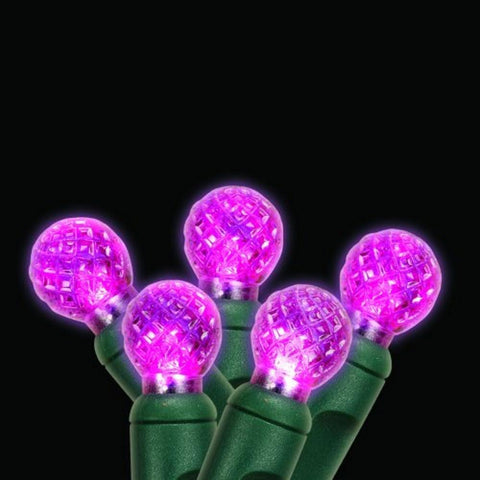 LED G12 70 String Lights 4 Inch Spacing, Green Wire, Pink - Seasonal Source
