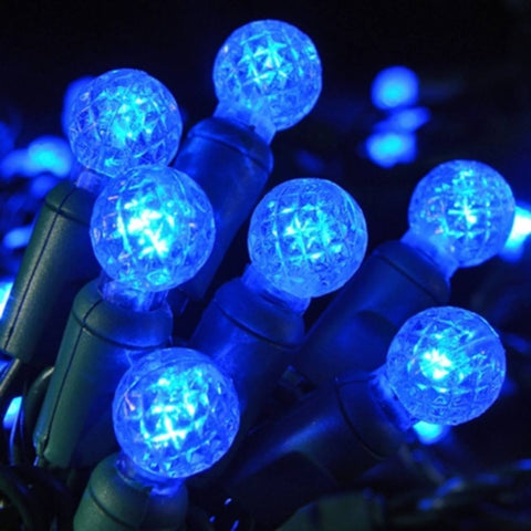 "LED G12 Professional Grade String Lights, Blue, 4"" Spacing, 70 Bulbs - Seasonal Source"