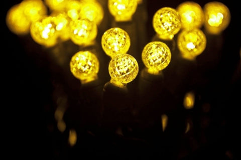 "LED G12 Professional Grade String Lights, Gold, 4"" Spacing, 70 Bulbs - Seasonal Source"