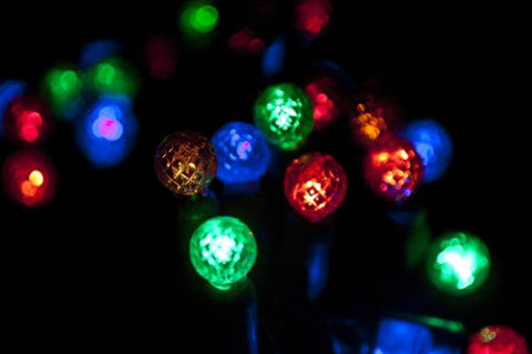 "LED G12 Professional Grade String Lights, Multicolored, 4"" Spacing, 70 Bulbs - Seasonal Source"