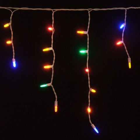 LED Icicle Lights, Multicolored, 70 Bulbs, White Wire - Seasonal Source