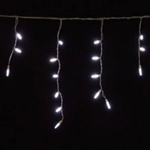 LED Icicle Lights, Pure White, 70 Bulbs, White Wire - Seasonal Source