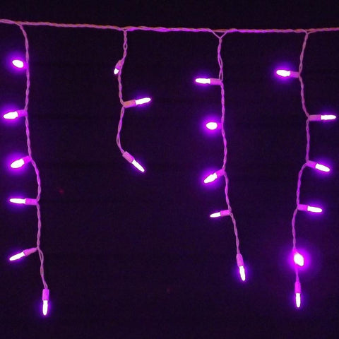 Seasonal Source - 88612-R - LED Icicle Lights, Purple, 70 Bulbs, White Wire - Seasonal Source