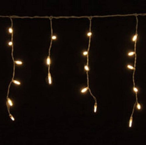 LED Icicle Lights, Warm White, 70 Bulbs, White Wire - Seasonal Source