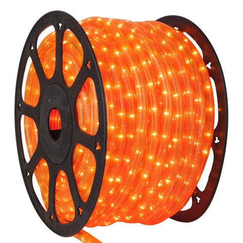 LED Orange Rope Light, 1/2 inch, 150 ft - Seasonal Source