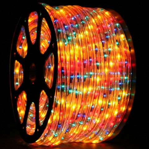 LED Rope Light, Multicolored, 1/2 Inch, 150 ft - Seasonal Source