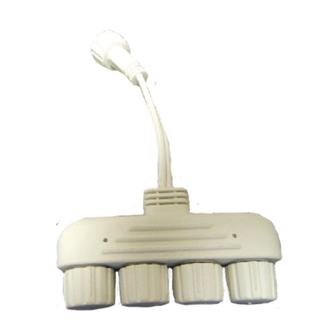 Reinders - 50096 - White Wire 4-Way Tap for Cascading Tube Lights - Reinders