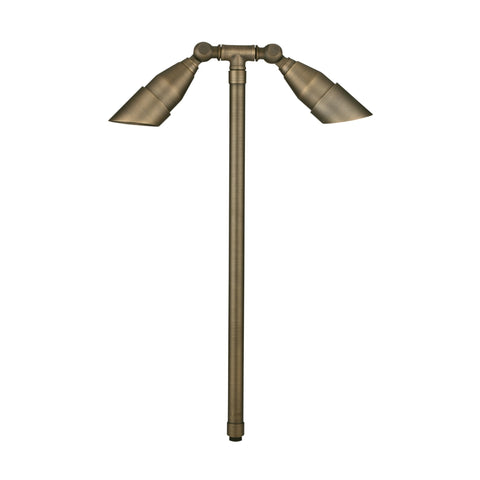 Corona Lighting - Corona Lighting - Antique Bronze Brass Double Head and 12V MR-16 2 X 35W MAX Bulb, Custom Product -  - Landscape Lighting  - Yard Outlet