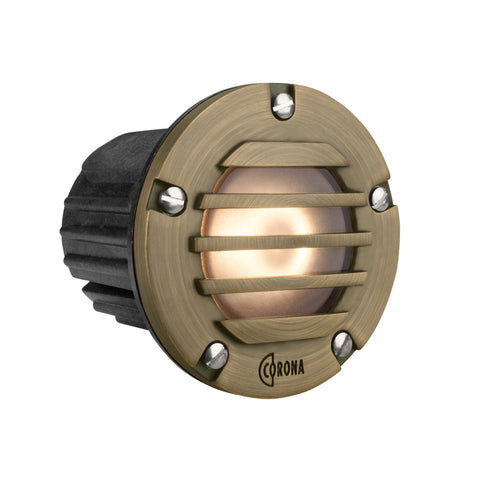 Corona Lighting - Corona Lighting - CL-348B Louvered Composite Step Light and 12V MR-16 50W MAX Bulb, Custom Product - Antique Bronze - Landscape Lighting  - Yard Outlet - 2