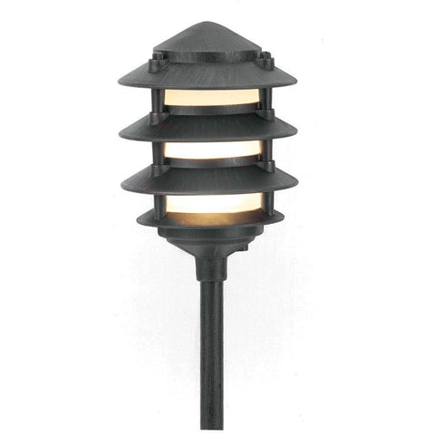 Corona Lighting - Corona Lighting - CL-604 Aluminum 4 Tier Pagoda and 12V T3/T4 50W MAX Bulb - Black - Landscape Lighting  - Yard Outlet - 1