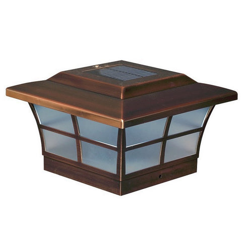 Classy Caps - Classy Caps - SL086 6 x 6 Copper Plated Prestige Solar Post Cap -  - Landscape Lighting  - Yard Outlet - 1