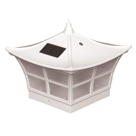 Classy Caps - Classy Caps - SL092 5 x 5 White PVC Ambience Solar Post Cap -  - Landscape Lighting  - Yard Outlet