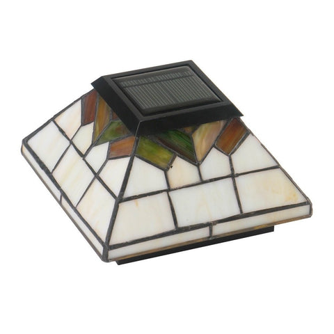 Classy Caps - Classy Caps - WG322 5 x 5 / 4 x 4 / 3.5 x 3.5 Stained Glass Wellington Solar Post Cap -  - Landscape Lighting  - Yard Outlet - 1