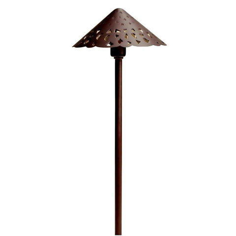 Kichler - Kichler, LED Cast Brass Hammered Roof Path Light - Bronzed Brass - Landscape Lighting  - Yard Outlet - 1