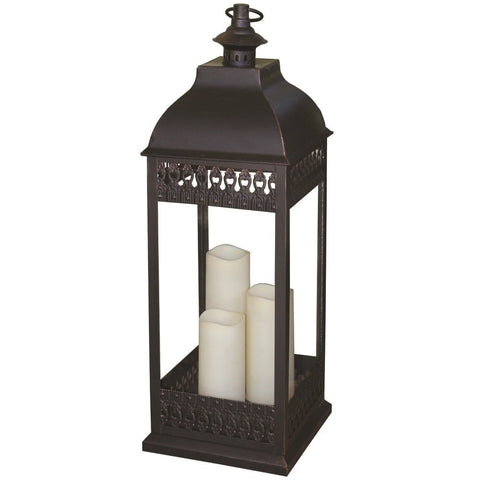 Smart Living Home and Garden - Smart Living Home and Garden, Battery Powered, San Nicola Triple Candle LED Lantern with On/Off Timer Bronze -  - Landscape Lighting  - Yard Outlet