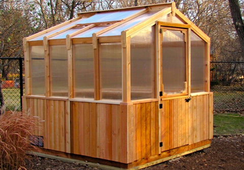 Outdoor Living Today - 8 x 8 Greenhouse Cedar - Includes Heat Functioning Roof Window Vent - Outdoor Living Today