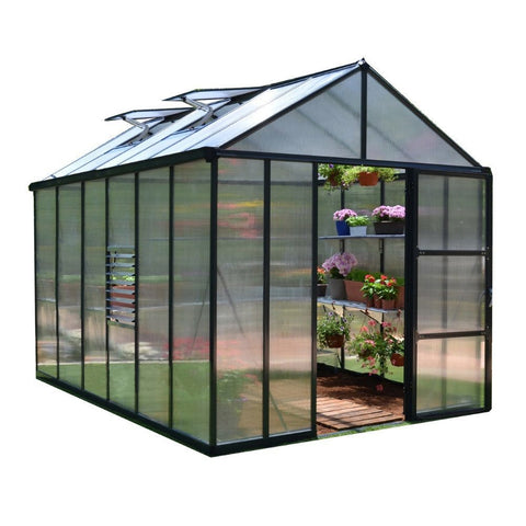 Palram - HG5608 - Glory 8' x 8' Premium Class Hobby Greenhouse - Grey - Poly-Tex