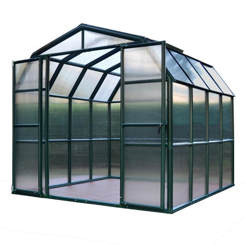 Rion - HG7208 - Grand Gardener 2,  8' x 8' Twin Wall Greenhouse - Green - Poly-Tex