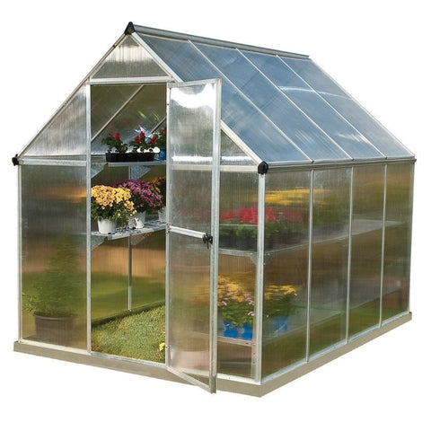 Palram - Mythos 6 Foot x 8 Foot Hobby Greenhouse - Silver - Lawn and Garden  - Yard Outlet - 1