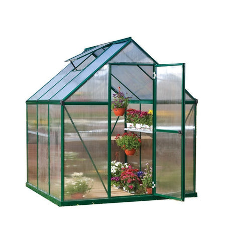 Palram - Mythos 6 Foot x 8 Foot Hobby Greenhouse - Green - Lawn and Garden  - Yard Outlet - 2