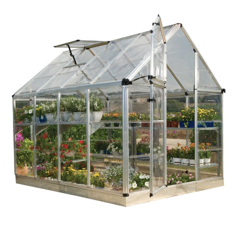 Palram - Snap and Grow 8 Foot x 8 Foot Hobby Greenhouse - Silver - Lawn and Garden  - Yard Outlet