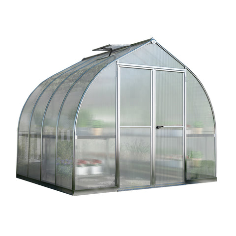 Palram - HG5408 - Bella 8' x 8' Hobby Greenhouse - Silver - Poly-Tex